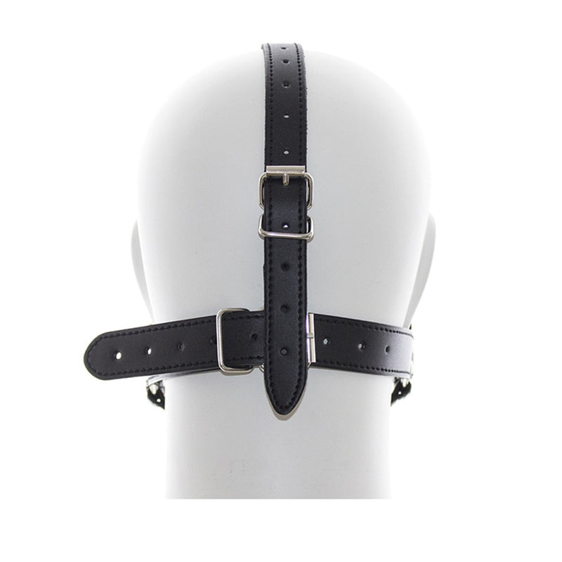 camaTech Open Deep Mouth Gag Stainless Steel Ring Head Harness Leather Strap Mask With Metal Double O-Rings Fetish Oral Sex Toys