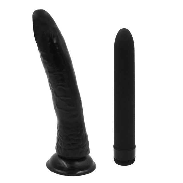 YEMA 2Pcs Knob Type Multispeed Magic Wand Vibrator&Normal Dildo Male Black Penis Realistic Sex Toys for Women Female Sex Shop