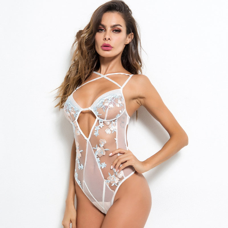 Women Sexy Bodysuit White Lingerie Slim Mesh Transparent Push Up Babydoll Embroidery Hollow Sex Hot Erotic Underwear Bodysuits