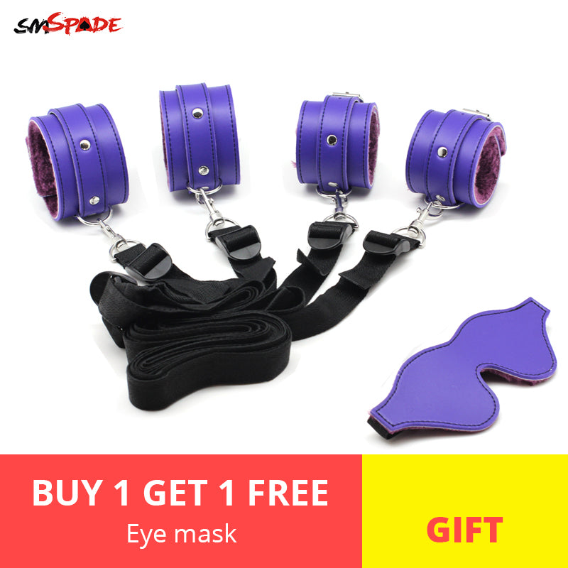 Smspade bdsm Bondage Sex Toys for Couples Adult Games Bondage Restraints Kit Handcuffs+Ankle Cuffs & bdsm Mask Blindfold for Sex