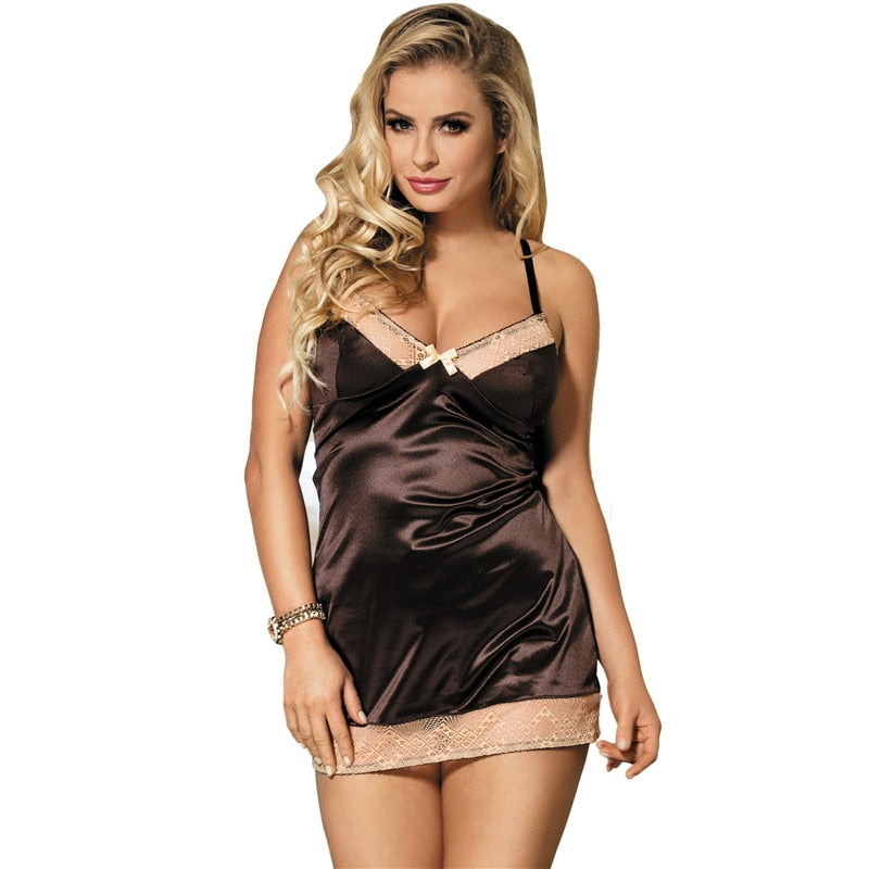 Sexy Nightgowns Lingerie V-Neck Ladies Night Wear Stain Brown Sleeveless Hollow Out Sexy Sleepwear Nighties For Women RS80352