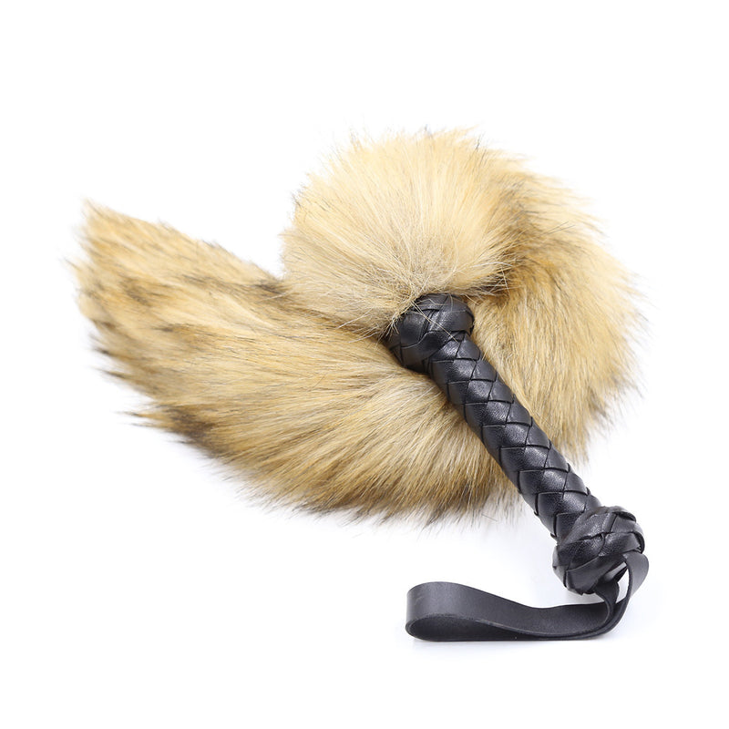 PU Leather Handle Fox Tail Fake Fur Whip Fetish Ass Spanking Paddle Bondage Whip BDSM Flirt Slave Erotic Sex Toys For Couples