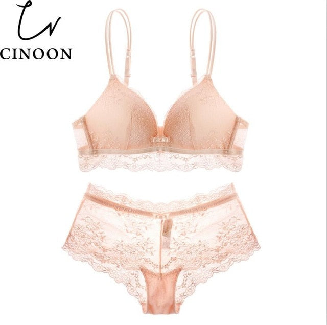 CINOON Sexy women 3/4 Cup lingerie Lace underwear Cotton bra set Push Up brassier comfortable and Transparent briefs