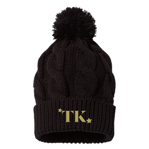 TK Embroidered Knit Pom Beanie - Black