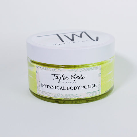Botanical Body Polish, Handmade Sugar Scrub. Awake your senses with our natural and nourishing body exfoliator. Our Botanical body polish removes dead skin and moisturizes leaving you with silky smooth glowing skin.  Unlike other sugar scrubs made with only oils and sugars, our emulsified body polish becomes a creamy exfoliating lotion upon contact with wet skin. Leaving you with soft supple skin and no oily residue.