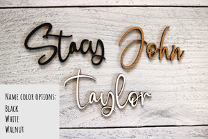 3D Name Stocking Tag with Engraved Holiday Design | Multiple Name Colors Available