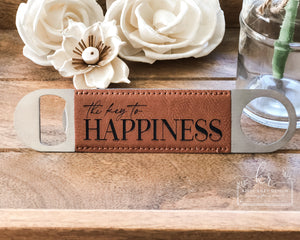 The Key to Happiness | Engraved Leatherette Bottle Opener