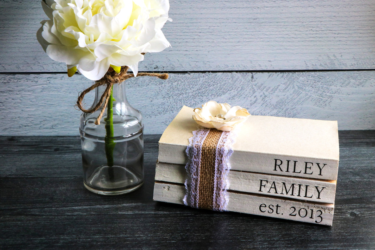 Personalized Family Name Book Set | Painted Book Stack