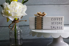 Load image into Gallery viewer, Coffee Before Talkie Wood Book Set | Faux Book Stack