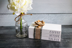 Coffee Before Talkie Wood Book Set | Faux Book Stack