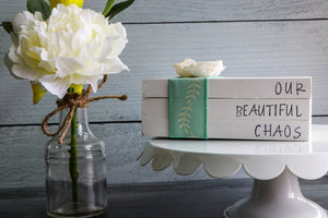 Our Beautiful Chaos Wood Book Set | Faux Book Stack