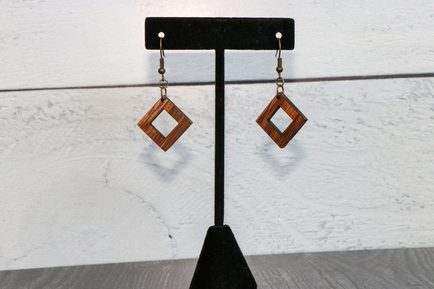 Zebrawood Diamond Wood Earrings