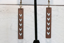 Load image into Gallery viewer, Hearts Slim Wood Earrings
