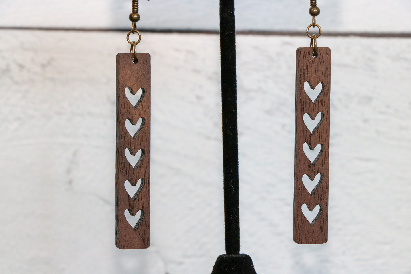 Hearts Slim Wood Earrings