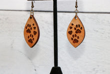 Load image into Gallery viewer, Paw Prints & Hearts Engraved Wood Earrings