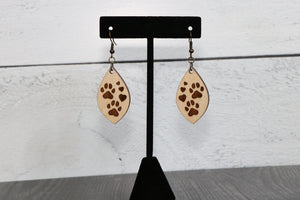 Paw Prints & Hearts Engraved Wood Earrings