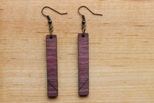 Load image into Gallery viewer, Purpleheart Slim Wood Earrings
