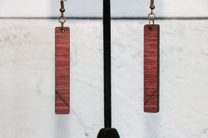 Purpleheart Slim Wood Earrings