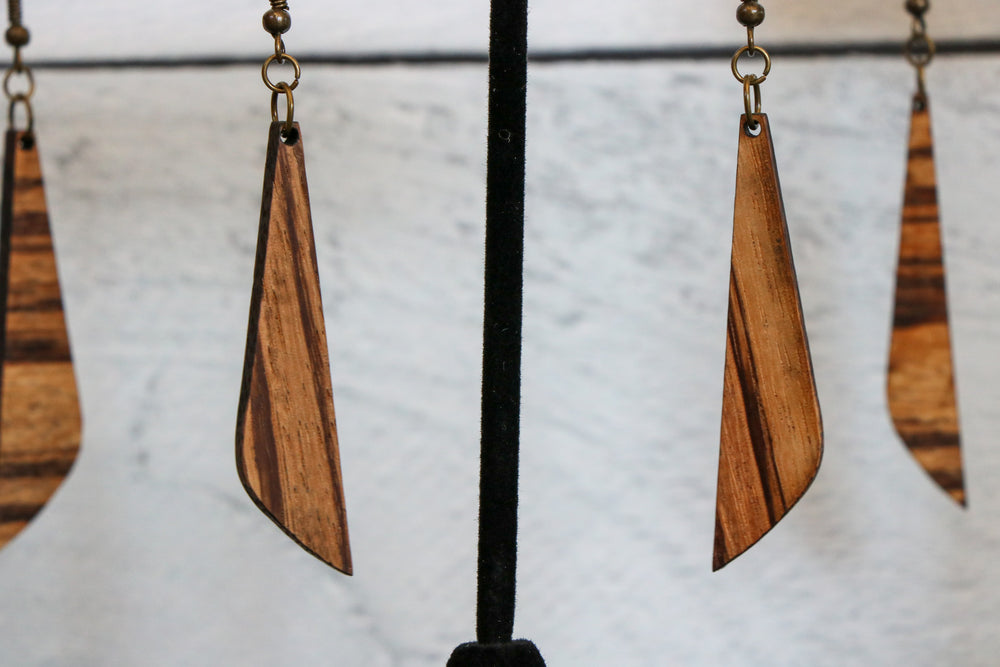 Zebrawood Slim Wood Earrings