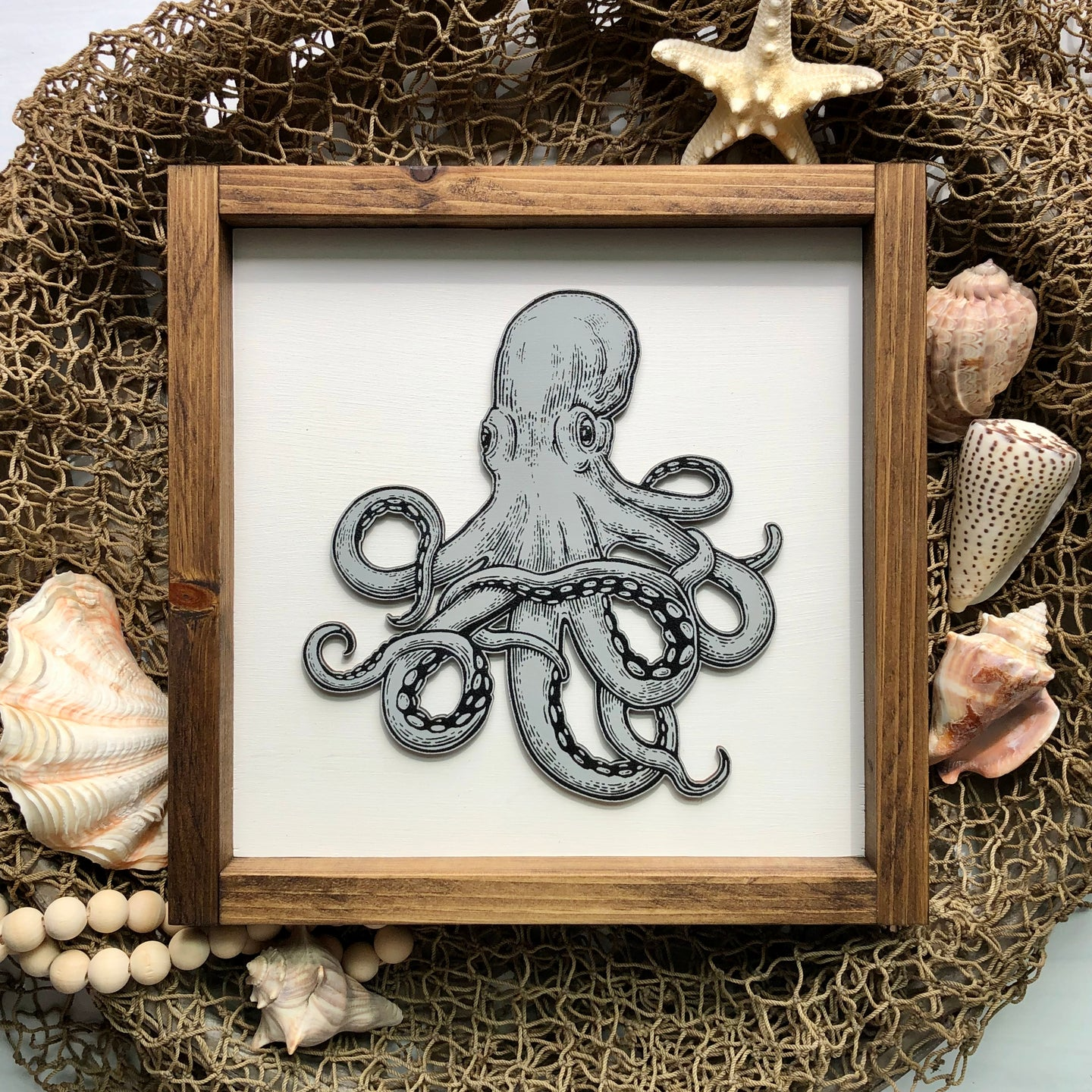 Octopus | Under The Sea | Framed Laser Wood Sign