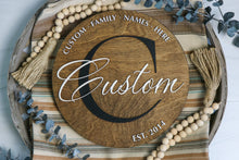 "Load image into Gallery viewer, Family Name Round | Personalized 12"" Round Laser Cut Sign"