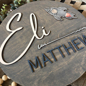 Personalized Nursery Sign | Baby Boy | Rocket Ship