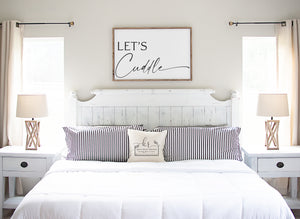 Let's Cuddle | Large Framed Wood Sign | Multiple Sizes Available