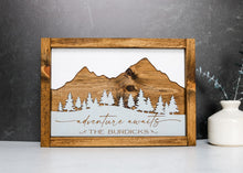 Load image into Gallery viewer, Adventure Awaits Personalized Wood Sign  | Engraved Family Name Wood Sign