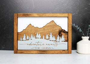 Adventure Awaits Personalized Wood Sign  | Engraved Family Name Wood Sign