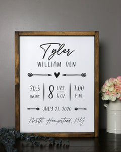 Personalized Nursery Birth Stats Sign | Framed Laser Wood Sign | 16x20