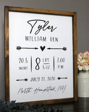 Load image into Gallery viewer, Personalized Nursery Birth Stats Sign | Framed Laser Wood Sign | 16x20