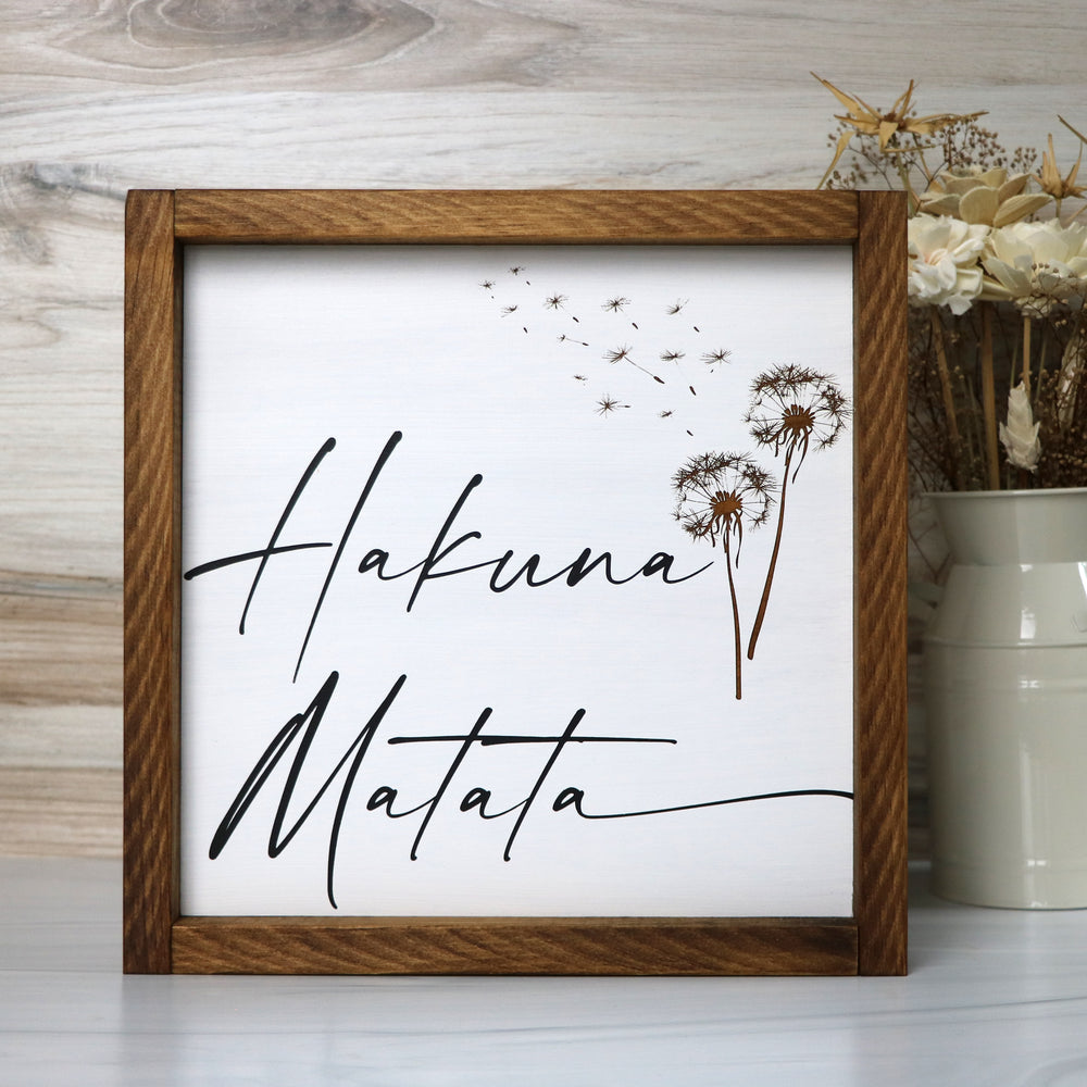 Hakuna Matata | Framed Wood Sign | Laser Engraved Dandelion | 12x12