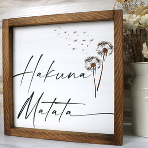 Hakuna Matata | Framed Wood Sign | Laser Engraved Dandelion