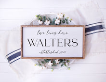 Load image into Gallery viewer, Love Lives Here | Personalized Family Name & Established Framed Wood Sign