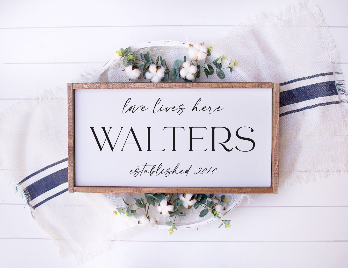 Love Lives Here | Personalized Family Name & Established Framed Wood Sign