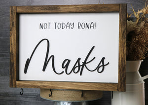 Not Today Rona! | Mask Hanger Framed Wood Sign | Laser Cut Lettering | 12x9