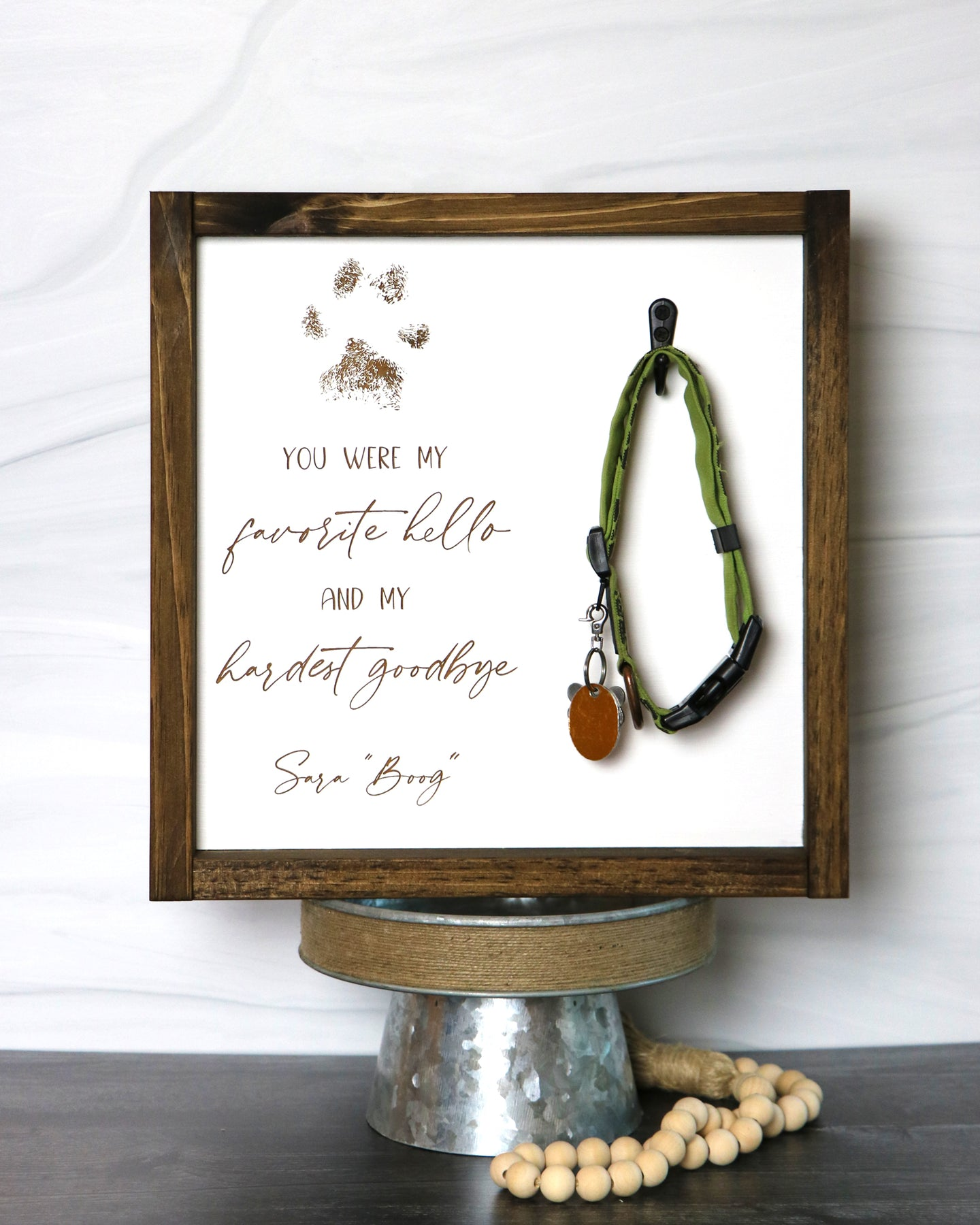 Pet Memorial Collar Keepsake Frame | Personalized Laser Engraved Wood Sign