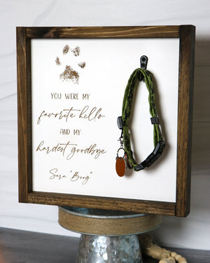 Pet Memorial Collar Keepsake Frame | Personalized Laser Engraved Wood Sign | 12x12