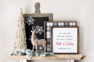 As For Me And My House - Milk & Cookies - Christmas | Framed Wood Sign | 12x12