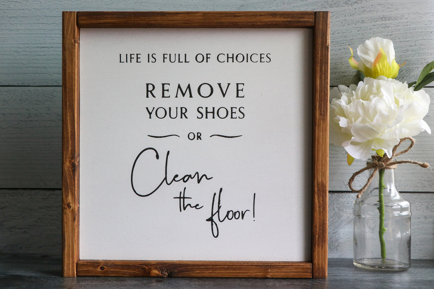 Remove Your Shoes | Framed Wood Sign