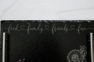 Engraved Slate Serving Tray | Food Family Friends Fun | Charcuterie Tray