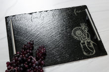 Load image into Gallery viewer, Engraved Slate Serving Tray | Food Family Friends Fun | Charcuterie Tray