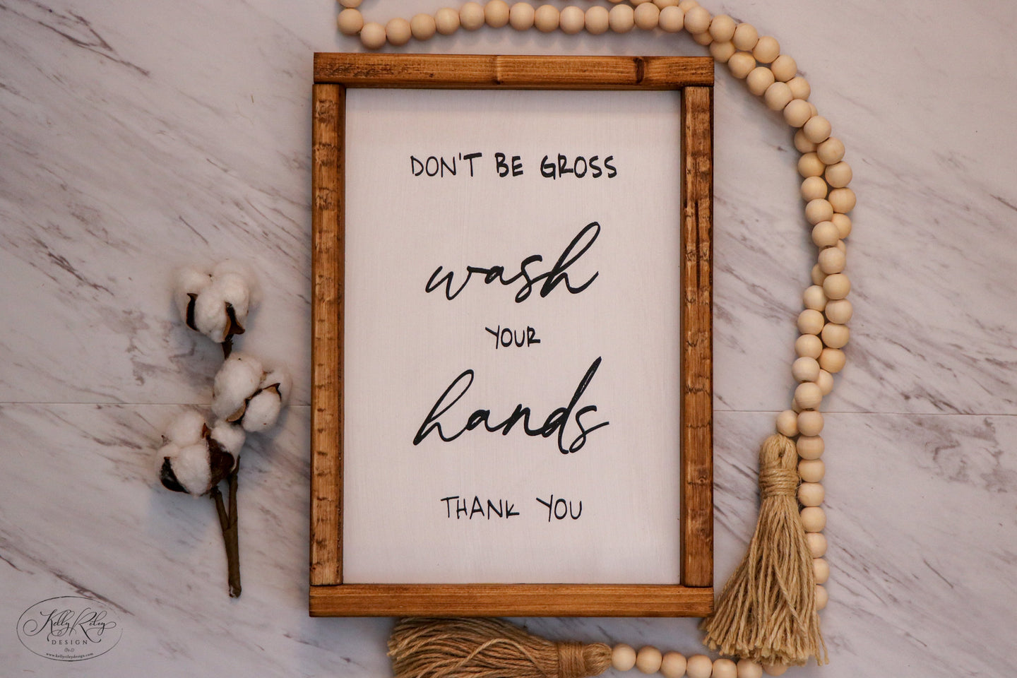 Don't Be Gross Wash Your Hands | Framed Wood Sign | 9x12