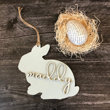 Load image into Gallery viewer, Personalized Wooden Easter Basket Tag | Laser Cut Tag