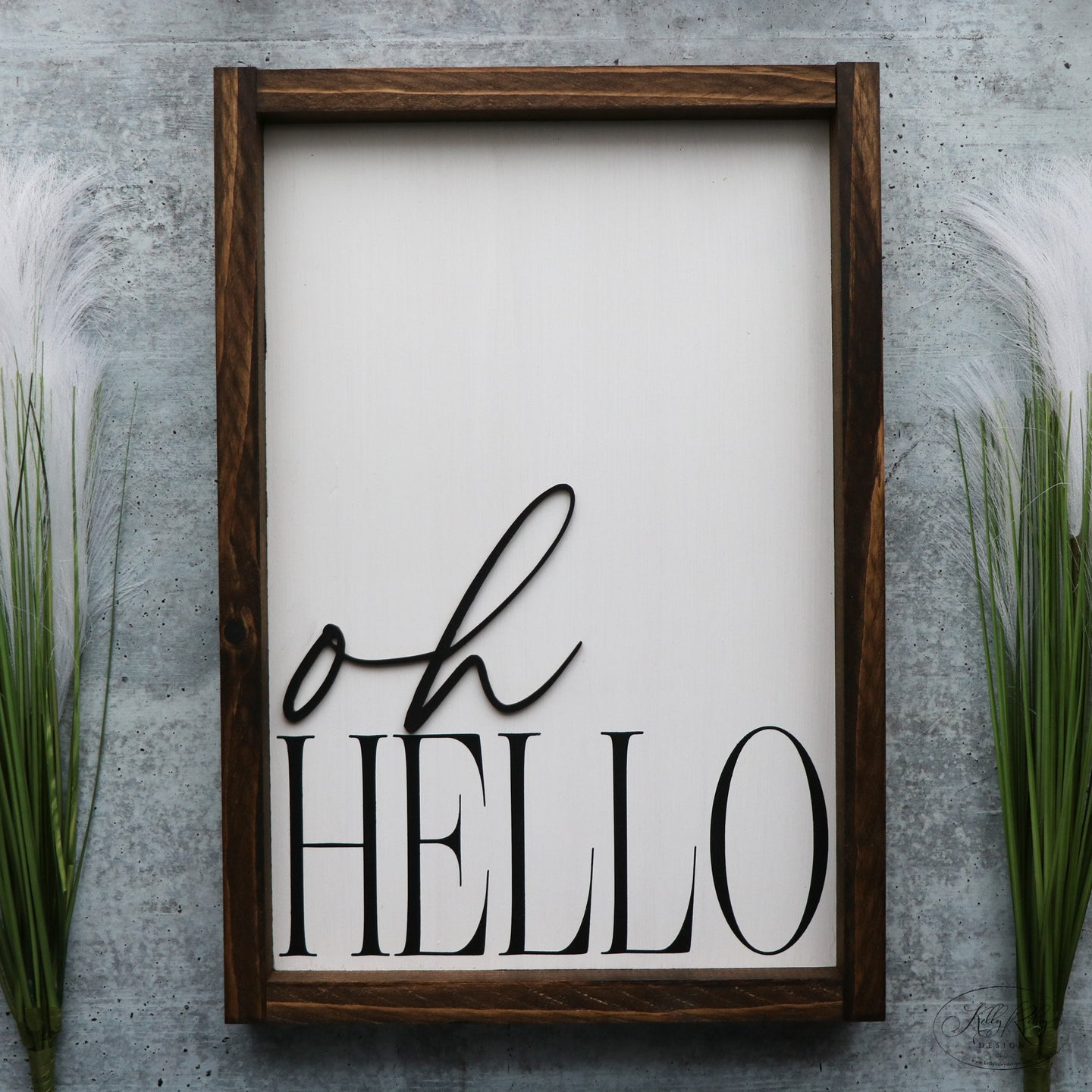 Oh Hello | Framed Laser Wood Sign