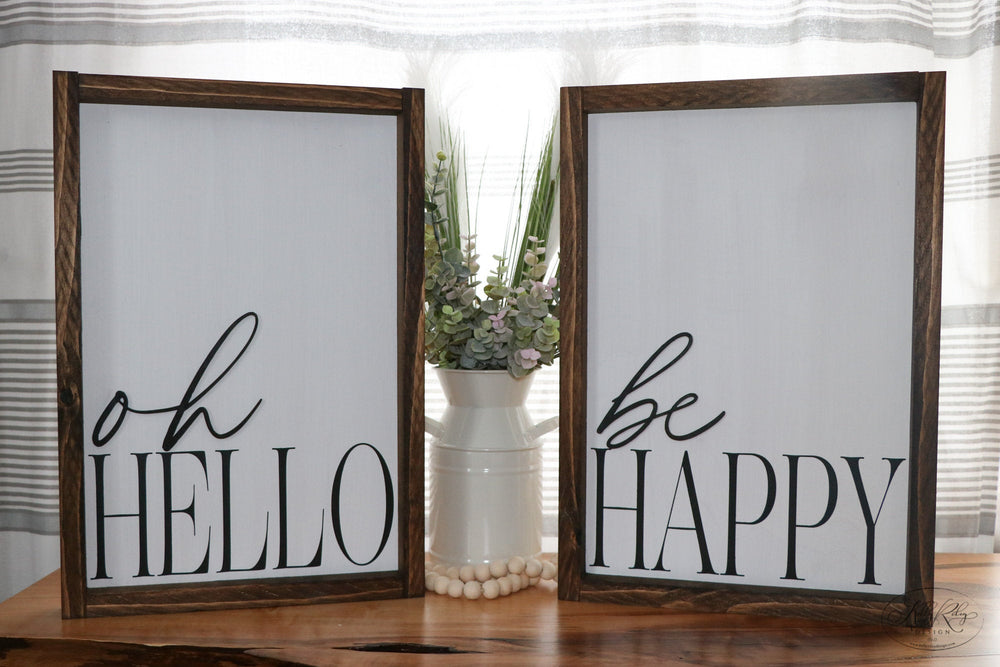 Be Happy | Framed Laser Wood Sign | 12x16