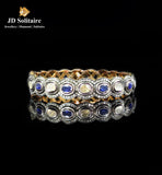 Antique Hyderabadi Polki, Diamond & Blue Sapphire Single Bangle
