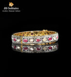 Antique Hyderabadi Ruby, Polki, Diamond Single Bangle