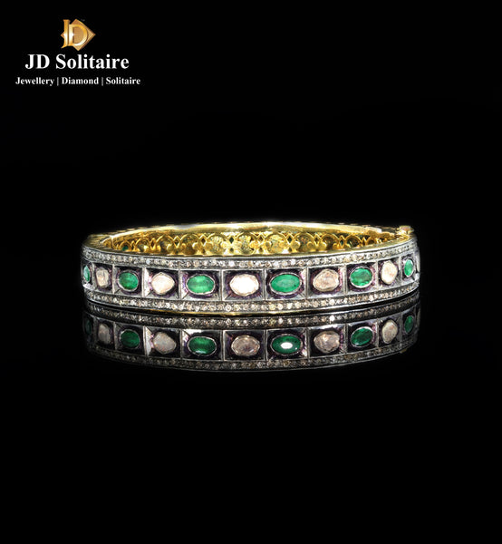Antique Hyderabadi Emerald Polki Diamond Single Bangle