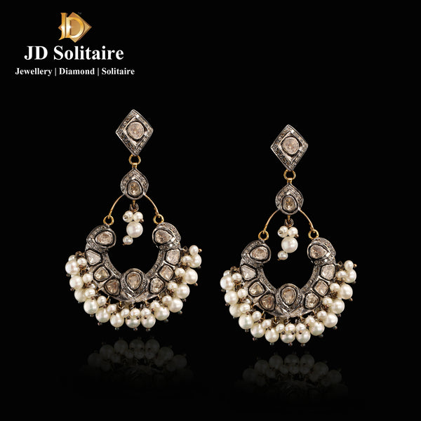 Antique Polki Diamond Chandbali Earrings